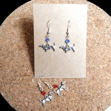 German Dachshund Earrings with Glass Crystals