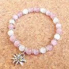 Octoberfest Pink Edelweiss Bracelet Fiber-Optic Cats Eye Glass