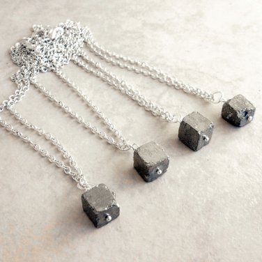 Asteroid - Natural Raw Iron Pyrite Nugget Pendant Necklace