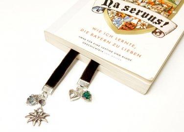 Flexible Beaded Black Velvet Bookmark with Edelweiss and Heart