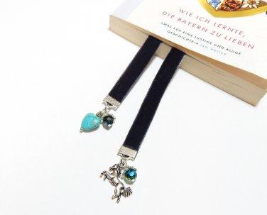Flexible Beaded Black Velvet Bookmark with Horse and Heart