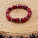 Mens Chunky Red Coral Branch Beaded Bracelet