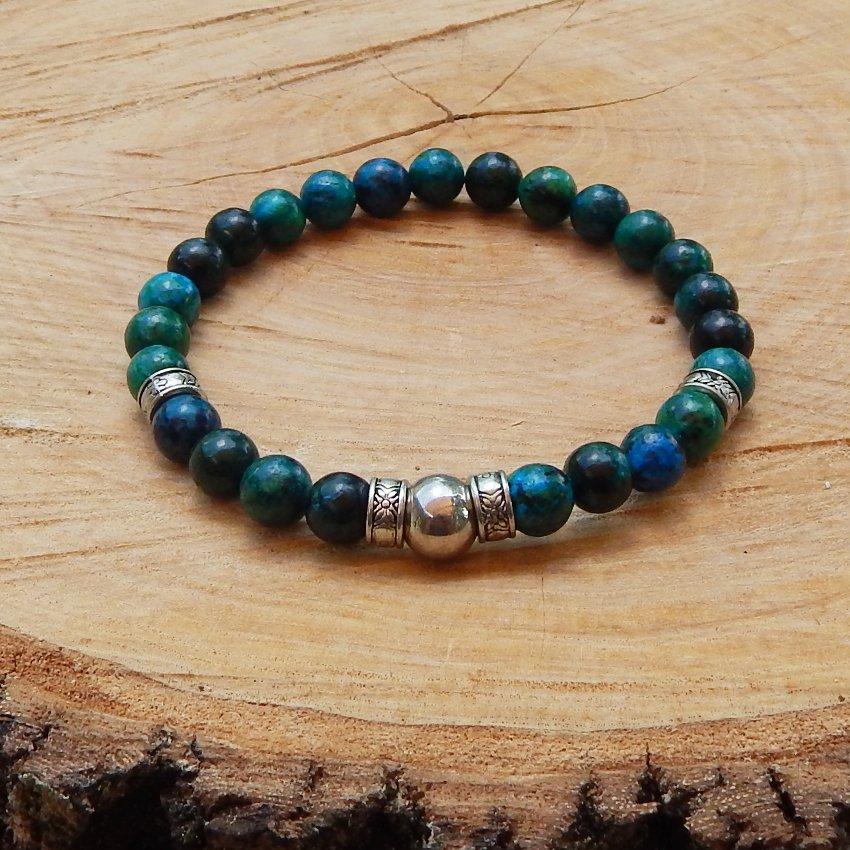 Mens Chrysocolla Gemstone and Silver Bead Bracelet