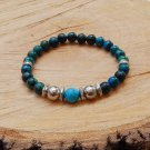 Mens Chrysocolla Gemstone and Turquoise Beaded Bracelet