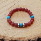 Mens Frosted Red Agate Gemstone Beaded Bracelet