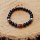 Mens Midnight Blue and Brown Goldsand Stone Gemstone Bracelet
