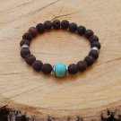 Mens Brown Lava Stone and Turquoise Bracelet