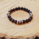 Mens Brown Lava Stone and Leopard Jasper Gemstone Bracelet
