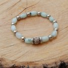 Unisex Amazonite and Fossil Agate Bracelet