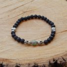 Mens Black Lava Stone Skull and Ocean Jasper Bracelet