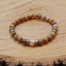Mens Picture Jasper and Mother of Pearl Gemstone Bracelet