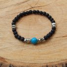 Mens Black Lava Stone Skull and Turquoise Bracelet