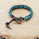 Blue Aqua Terra Sea Jasper Beaded Leather Wrap Bracelet
