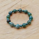 Green Moss Agate and Crystal Bracelet