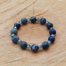 Natural Blue Sea Sediment Jasper and Crystal Bracelet