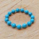 Polished Turquoise Stone and Crystal Bracelet