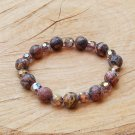 Leopard Skin Jasper and Crystal Bracelet