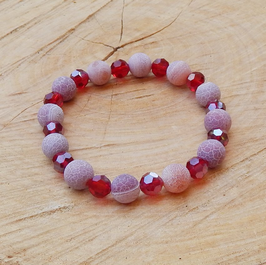 Pomegranate Red Frosted Agate and Crystal Beaded Bracelet