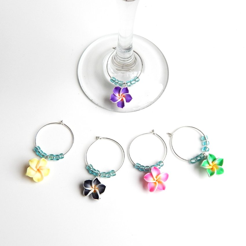 5 Aloha Tropical Plumeria Flower Wine or Mug Charms