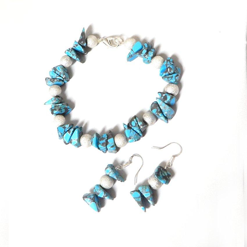 Blue Mosaic Turquoise Nugget Bracelet and Earring Set