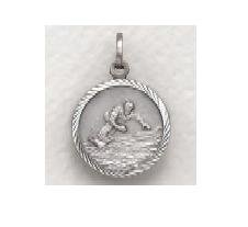 """Snowboarding - Sterling Silver Sports Medal (20"""" chain) SM8572SH"""