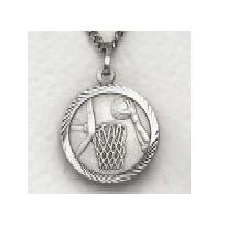 "Boys Basketball - Sterling Silver Sports Medal (20"" chain) SM0926SH"
