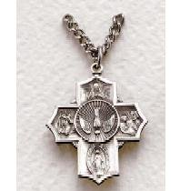 """Sterling Silver Four Way Medal (24"""" chain) SM0334SH"""