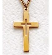 "Mens 14K Gold Filled Cross (24"" chain) SX1274GH"