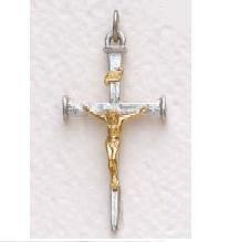 "Mens Sterling Silver Crucifix Pendant (24"" chain) SX8162SH"