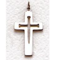 "Mens Sterling Silver Cross (24"" chain) SX8289SH"