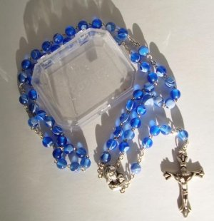 """BLUE """"MARBLED"""" ROSARY RS108"""