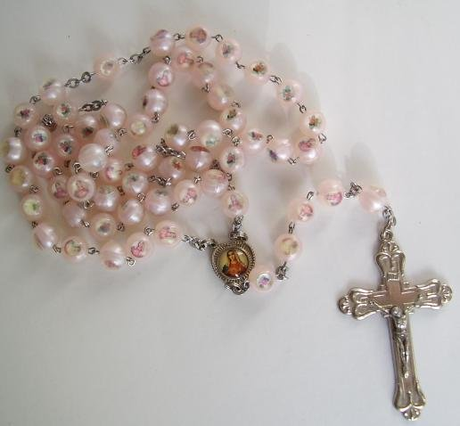 LARGE LIGHT PINK ROSARY - 1/2 OFF! ROS176