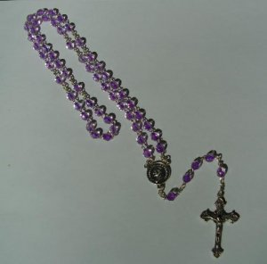 PURPLE/CLEAR ROSARY RS125