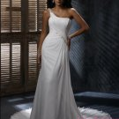 Elegant Hi-Lo A-Line One-Shoulder Wedding Dress D64085
