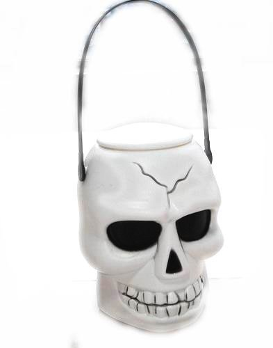 Halloween White Skeleton Head Pail D65559