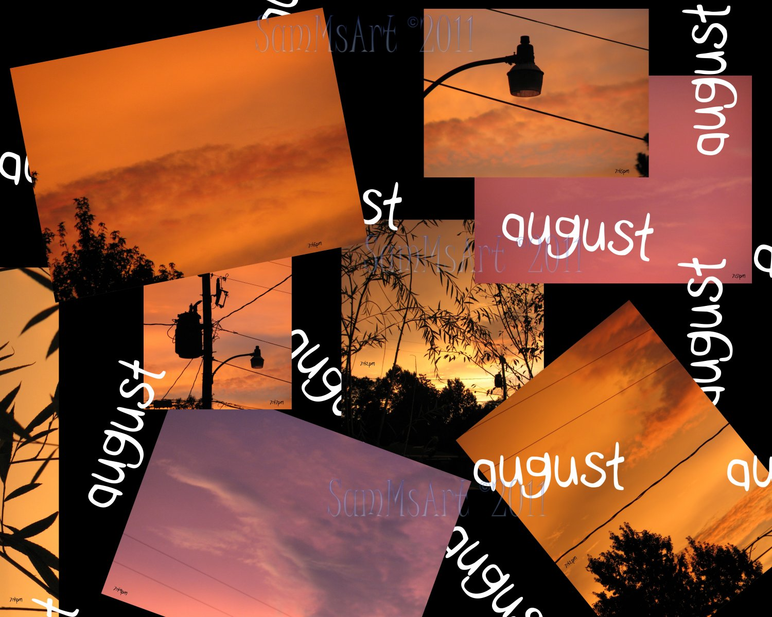 August - 8x10 Print, Digital Fine Art Image Photo - Sunset, summer, fall, Power lines, Clouds