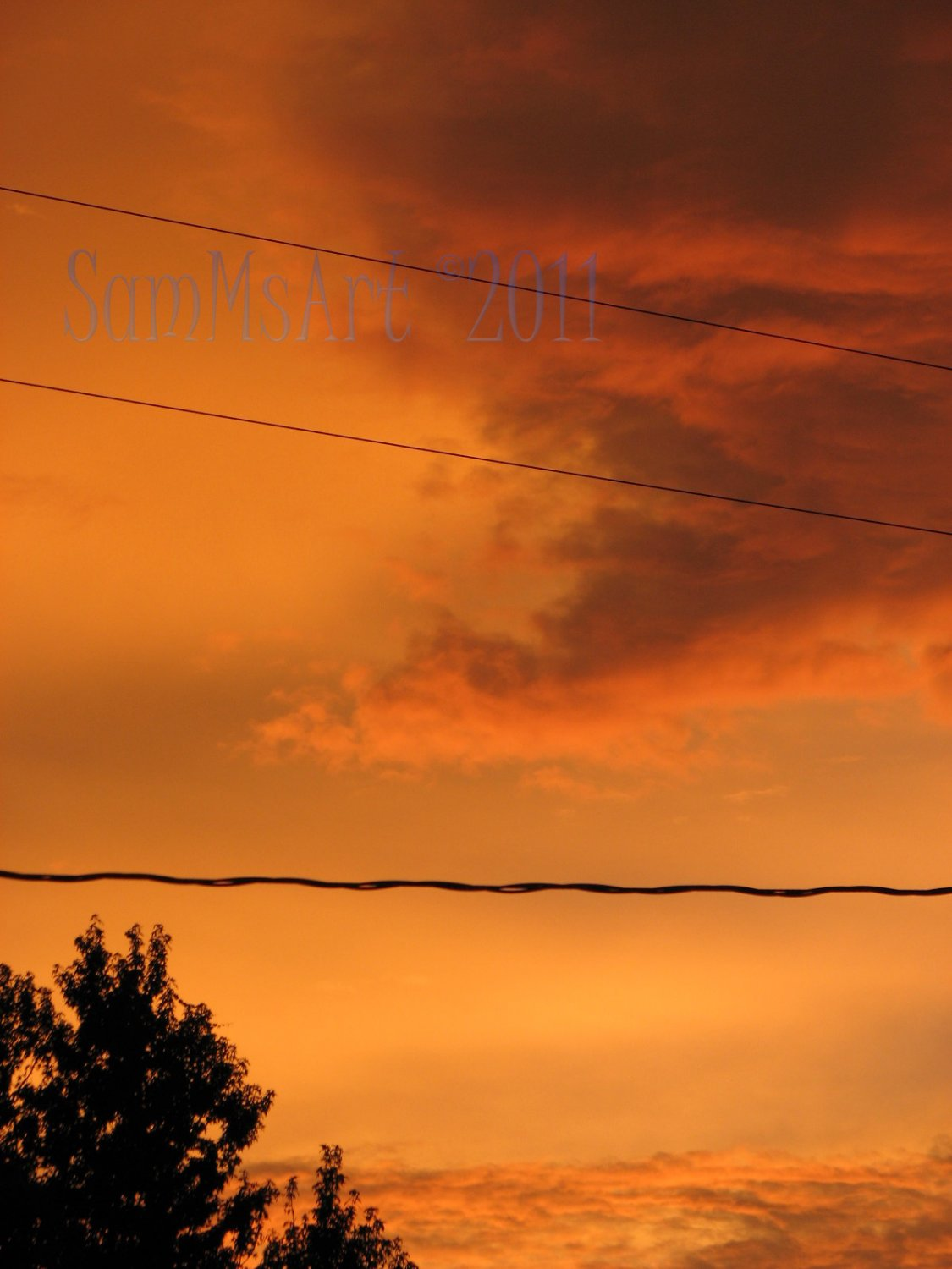August 8 - 8x10 Print, Digital Fine Art Image Photo - Sunset, summer, fall, Power lines, Clouds
