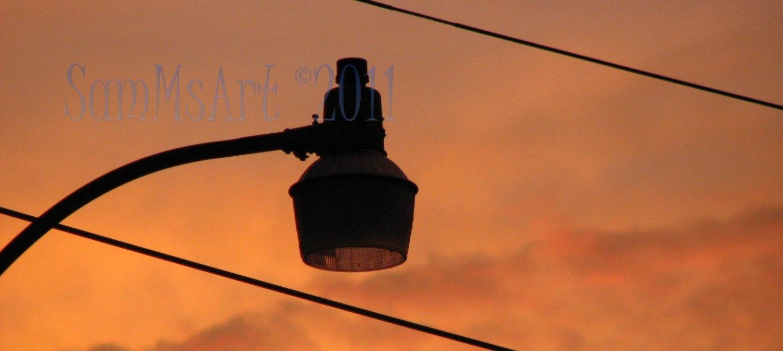 August 19 - 8x10 Print, Digital Fine Art Image Photo - Sunset, summer, fall, Power lines, Clouds