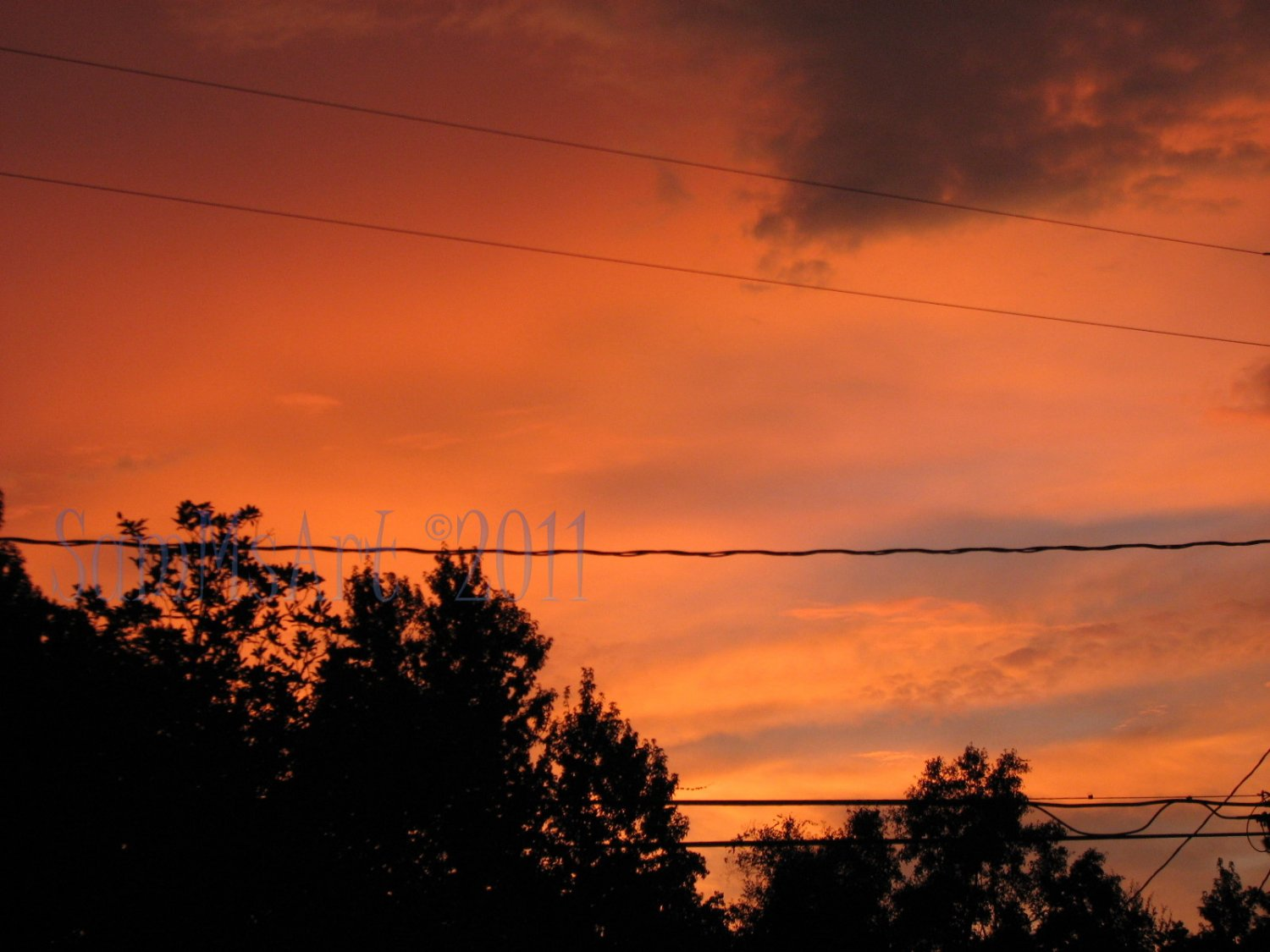 August 31 - 8x10 Print, Digital Fine Art Image Photo - Sunset, summer, fall, Power lines, Clouds