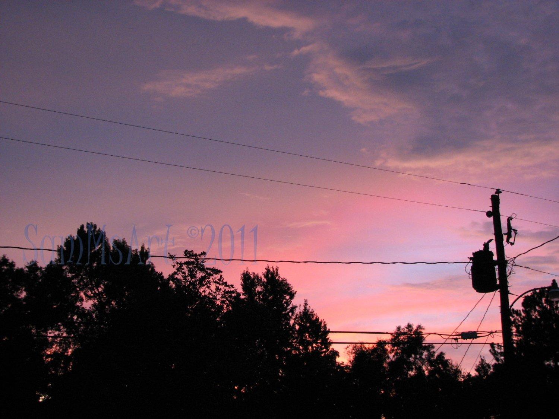August 41 - 8x10 Print, Digital Fine Art Image Photo - Sunset, summer, fall, Power lines, Clouds