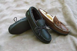Mens Molded Sole Deertan Leather Slippers Sheepskin Lined 6-13 Handcrafted USA