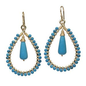 "Handcrafted Gemstone Earrings Hammered Hoops Turquoise 1-3/4"" Long Made USA NEW"