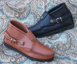 Womens Buckle Chukka Ankle Boots Deertan Leather Cushion Insoles Size 4-10 USA