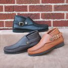 Men's Buckle Chukka Boots Deertan Leather Cushion Insoles Sizes 6-13 Made in USA