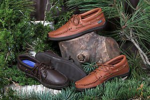 Mens Deertan Leather Casual Lace-Up Shoes Rubber Soles Sizes 6-13 Made USA