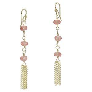 """Gemstone Earrings Cherry Quartz Rondelles 14K Gold Filled  Chain Tassle 2-1/4"""""""