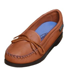 Womens Deertan Slip-On Shoes Rubber Soles Loafer Moccasin 4-10 Medium Made USA