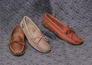 Womens Cowhide Moccasins Canoe Soles Cushion Insoles Sizes 4-10 Made in USA