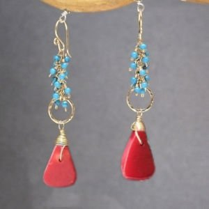 Handcrafted Gemstone Earrings Turquoise Red Coral 14K Gold Sterling Made in USA
