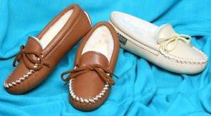 Footskins Childrens Softsole Deertan Slippers Sheepskin Lining Choose Size Color